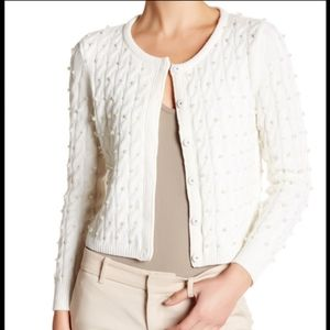 Alice + Olivia Ozzie Pearl & Cable Wool Cardigan